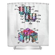 Colorful 1961 Lego Brick Patent Minimal Shower Curtain