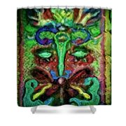 Colorful Abstract Painting Swirls And Dabs And Dots With Hidden Meaning And Secret Stories Of Birds  Shower Curtain