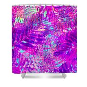 Colorful Abstract Palm Leaves 3 Shower Curtain