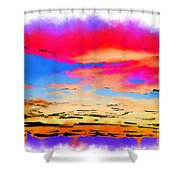 Colorful Abstract Sunset Shower Curtain