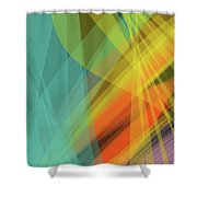 Colorful Abstract Vector Background Banner, Transparent Wave Lin Shower Curtain