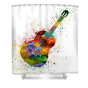 Colorful Acoustic Guitar 02 Shower Curtain