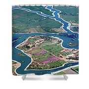 Colorful Aerial Of Commercial Farmland In Stockton - Medford Island - San Joaquin County, California Shower Curtain