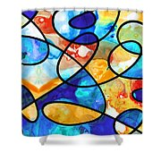 Colorful Art - Line Dance 1 - Sharon Cummings Shower Curtain
