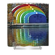 Colorful Bandshell And Swan Shower Curtain