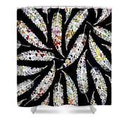 Colorful Black And White Leaves Shower Curtain