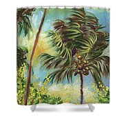 Colorful Blue Hawaiian Plantation House With Red Tin Roof And Sw Shower Curtain