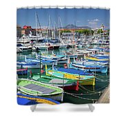 Colorful Boats Docked In Nice Marina, France Shower Curtain