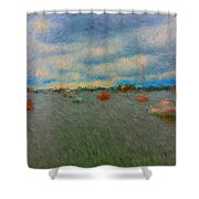 Colorful Boats On Cloudy Day At Boothbay Harbor Shower Curtain