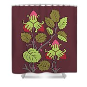 Colorful Botanical Hand Drawn Strawberry Bush Isolated On Vinous Shower Curtain