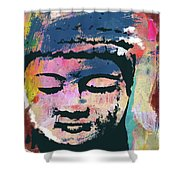 Colorful Buddha 1- Art By Linda Woods Shower Curtain