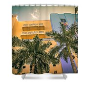 Colorful Building And Palm Trees Shower Curtain