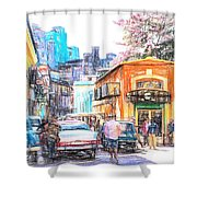 Colorful Buildings And Old Cars In Havana - V3 Shower Curtain