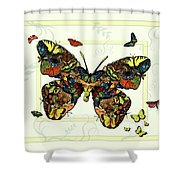 Colorful Butterfly Collage Shower Curtain