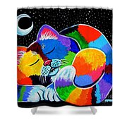 Colorful Cat In The Moonlight Shower Curtain