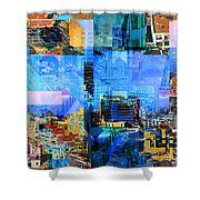 Colorful City Collage Shower Curtain