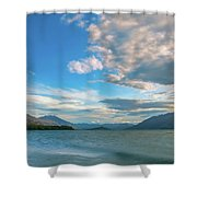 Colorful Clouds At Golden Hour On Lake Wakatipu At Glenorchy, Nz  Shower Curtain