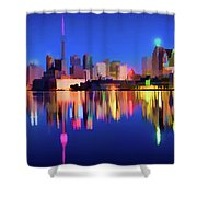 Colorful Cn Tower  Shower Curtain