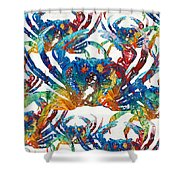 Colorful Crab Collage Art By Sharon Cummings Shower Curtain