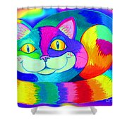 Colorful Crazy Cat Shower Curtain
