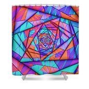 Colorful Cuts Fractal Shower Curtain