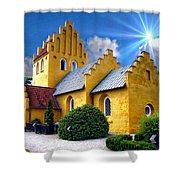 Colorful Danish Church Shower Curtain