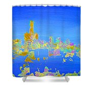Colorful Detroit Skyline Shower Curtain by Danielle Allard