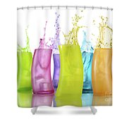 Colorful Drink Splashing From Glasses Shower Curtain
