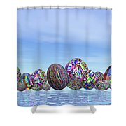 Colorful Eggs For Easter - 3d Render Shower Curtain