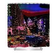 Colorful Evening Shadows Shower Curtain
