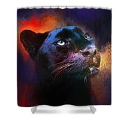Colorful Expressions Black Leopard Shower Curtain