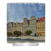 colorful facades on Market Square or Ryneck of Wroclaw Shower Curtain