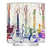 Colorful Fender Guitars Paint Splatter Shower Curtain