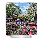 Colorful Festival Along River Walk Shower Curtain
