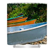 Colorful Fishing Boats On A Rocky Shore  Grand Manan Shower Curtain