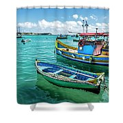 Colorful Fishing Boats Shower Curtain