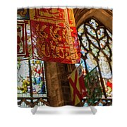 Colorful Flags And Stained Glasss Windows Shower Curtain