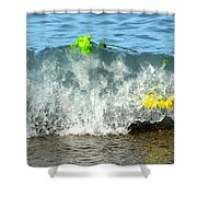 Colorful Flowers Crashing Inside A Wave Against The Shoreline Shower Curtain