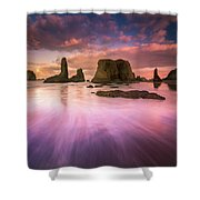 Colorful Flux From Seastacks Shower Curtain