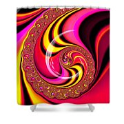 Colorful Fractal Spiral Red Yellow Pink Shower Curtain