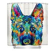 Colorful German Shepherd Dog Art By Sharon Cummings Shower Curtain by Sharon Cummings