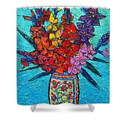 Colorful Gladiolus Shower Curtain