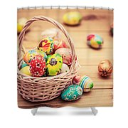 Colorful Hand Painted Easter Eggs In Basket And On Wood Shower Curtain