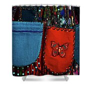 Colorful Hanging Pouches Shower Curtain