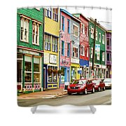 Colorful Houses In St Johns In Newfoundland Shower Curtain