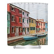 Colorful Houses On The Island Of Burano Shower Curtain