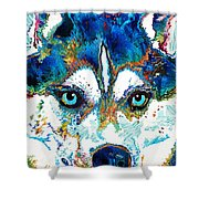 Colorful Husky Dog Art By Sharon Cummings Shower Curtain