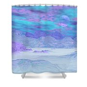 Colorful Icebergs - 3d Render Shower Curtain