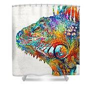 Colorful Iguana Art - One Cool Dude - Sharon Cummings Shower Curtain