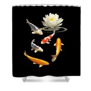 Colorful Koi With Water Lily Shower Curtain